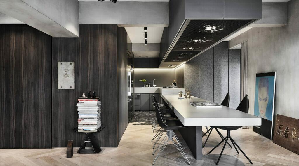 Modern U-Shape Kitchen in caesarstone 4033 Rugged Concrete   3255