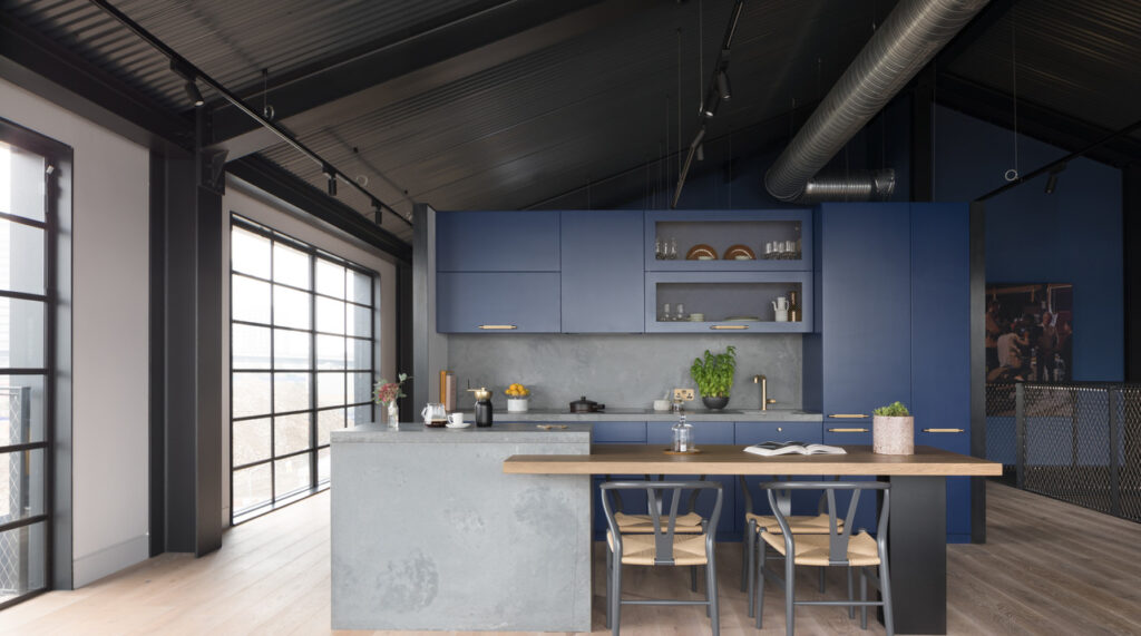 Industrial One wall kitchen with iseland in Caesarstone 4033 Rugged Concrete   2539