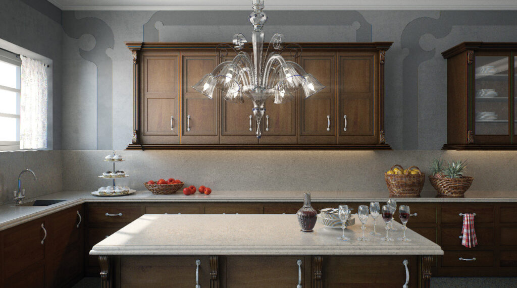 Traditional L-Shape kitchen with island in Caesarstone 6131 Bianco Drift   1833