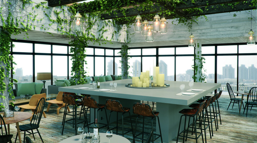 Industrial commercial space in Caesarstone 4004 Raw Concrete 1869