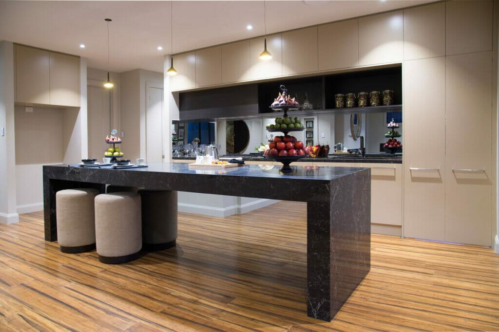 Modern galley kitchen in Caesarstone 5100 Vanilla Noir  3019