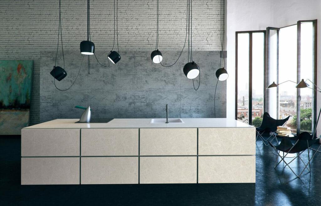 Modern kitchen with Island in Caesarstone 5130 Cosmopolitan White   1867
